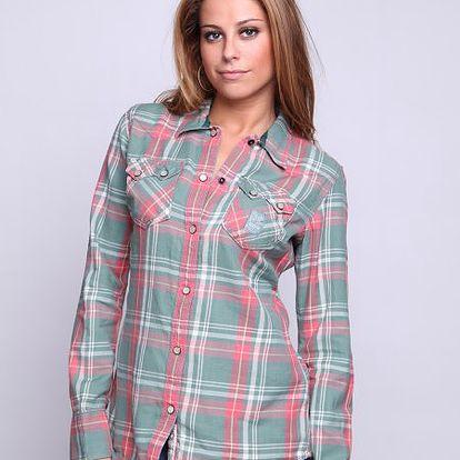 Superdry Košile Peached Western Twill Snapper, zelená/červená