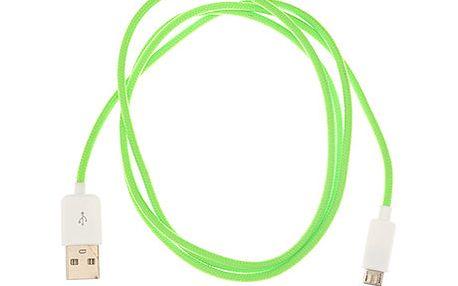 Micro-USB kabel, zelený