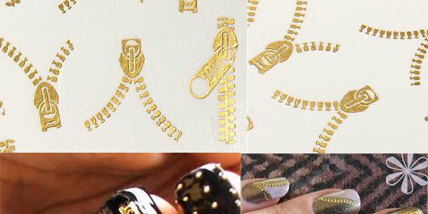 20 kusů dekorace na nehty v designu zipu - zlatá barva a poštovné ZDARMA! - 218