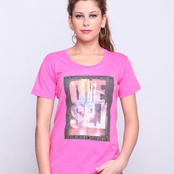 Pohodlné a stylové dámské tričko Diesel Tewax F, růžová
