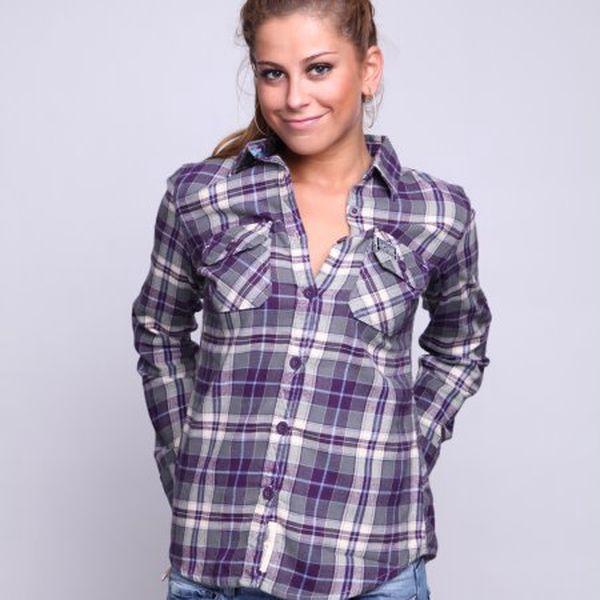 Superdry Košile Washbasket Hipster Shirt, šedá/fialová