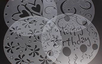 Dekorační šablony na dort - 4 ks v balení a poštovné ZDARMA! - 7004210