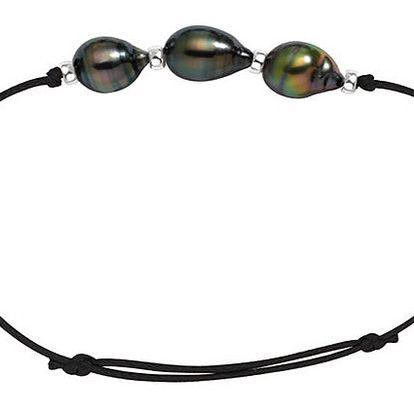 Dámský náramek se třemi tahitskými perlami