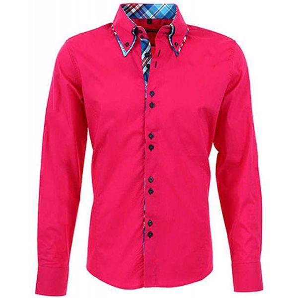 Růžová košile s károvanými detaily