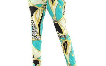 Azurové dlouhé kalhoty