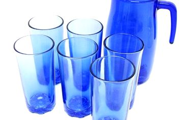 Set džbán + 6 ks sklenic 275 ml modré sklo Cerve