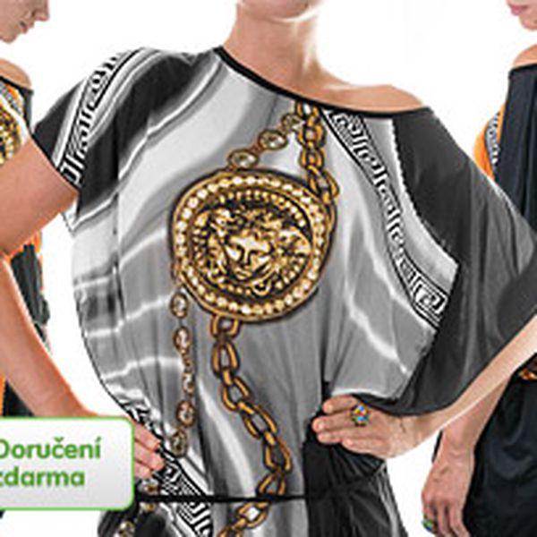 Barevné dámské tuniky se zlatými detaily