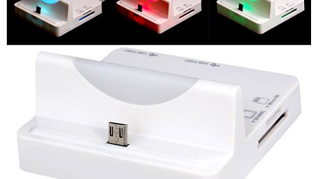 Multifunkční dokovací stanice s barevným LED světlem a čtečka karet pro Samsung mobilní telefony a poštovné ZDARMA! - 225