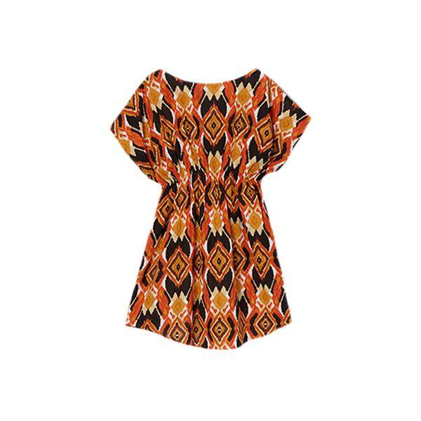 Volná oranžovočerná tunika pro holčičky. 100% bavlna.