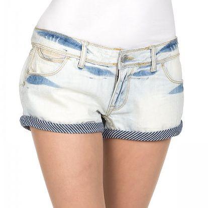 Jeansové dámské kraťasy Superdry Tickerturn_FWD, šedá/modrá