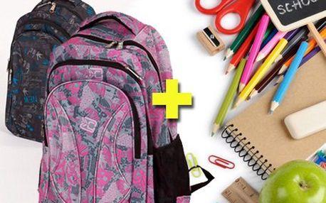 Školní batoh včetně bohaté výbavy – 60 školních potřeb, různé barvy