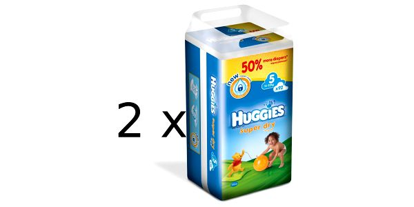 Prémiové plenky Huggies Super Dry 5 Giga double box - 184ks