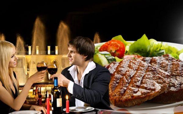 Dvě vstupenky na PŘEDSTAVENÍ KŘIŽÍKOVY FONTÁNY + 3 CHODOVÁ romantická VEČEŘE s lahví vína pro DVA jen za 999 Kč! Pochutnáte si na carpacciu z telecí svíčkové, argentinském STEAKU a moučníku dle výběru! Sleva 59%!