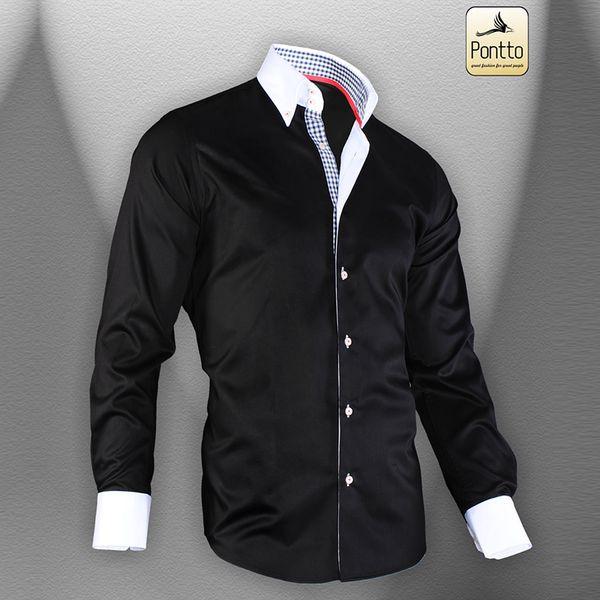Pánská košile Pontto černá s bílou