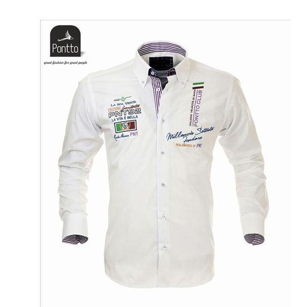 Pánská košile Pontto bílá barevný potisk