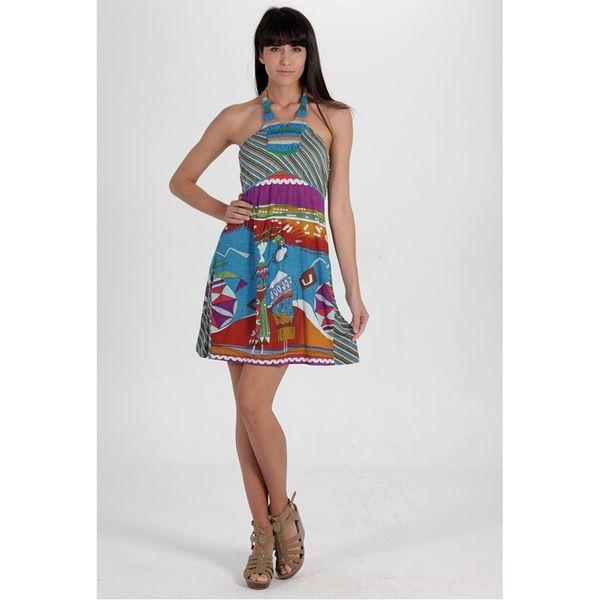 Dámské šaty Calao barevné zavazování za krkem