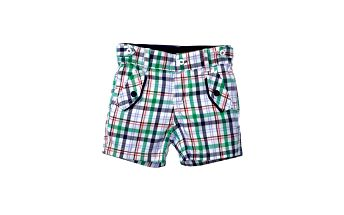 Kostkované bermudy pro chlapečky - zelené, 100% bavlna