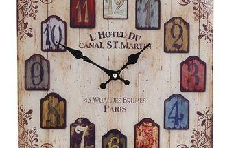 Hodiny skleněné Hotel du Canal 34 x 34 cm