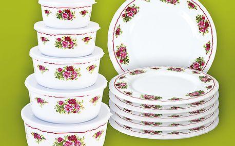 Velká melaminová sada pro bezstarostné servírování. 5 misek s víčky a 6 talířů