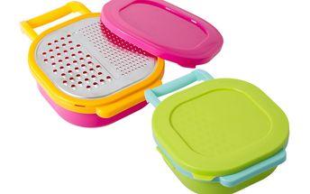 Plastové struhadlo s nádobkou na ovoce či zeleninu se dvěma plochami