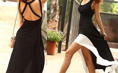 Dámské šaty s odhalenými zády - černobílé provedení a poštovné ZDARMA! - 238