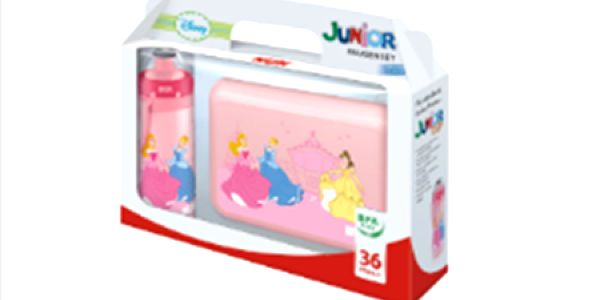 NUK Svačinový set DISNEY-Princezny, Junior Cup 300ml, push - pull pítko + svačinový box