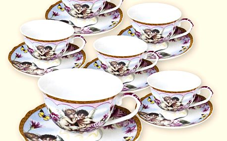 Elegantní 12dílná čajová souprava s dekorem růží