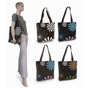 Jednoduchá textilní taška Květ Famito 1042J hnědomodrá