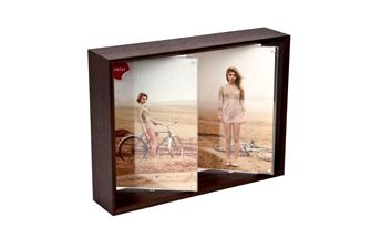 Rámeček tmavý na dvě fotky otočný 2x13x18 cm
