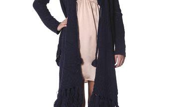 Cardigan - dark indigo 191 - zavinovací svetr s efektními třásněmi