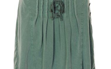 Sukně Tia Dry Green z jemné bavlny áčkového střihu
