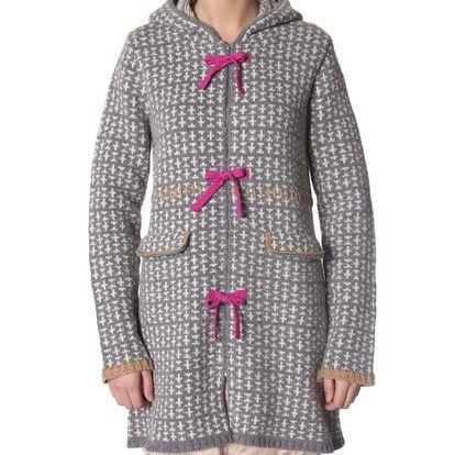 Krásný hřejivý pletený kabát s kapucí - grey melange 108