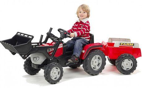 Falk Traktor McCormik šlapací s přední lžící a valníkem červený