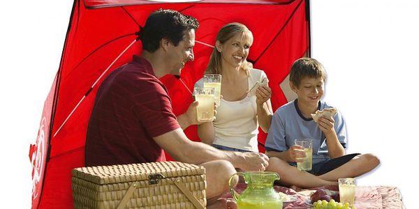 Teddies Stan plážový 135x100x104cm nylonový červený