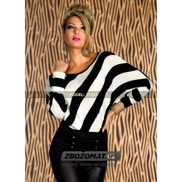 Pruhovaný svetr s netopýřími rukávy - v růžové nebo bílé kombinaci