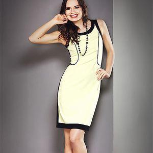 Citronové šaty s černými lemy (la'Aurora)