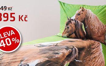 Dokonalé bavlněné povlečení s fototiskem nejen pro milovníky koní se slevou 40 %