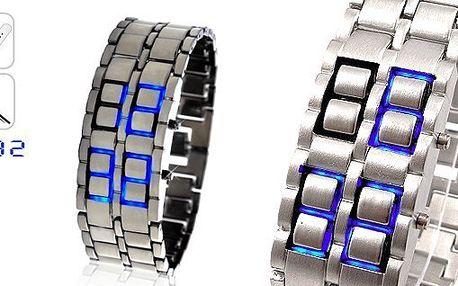 UNIKÁTNY LED hodinky samuraj v striebornom prevedení s modrými LED zobrazením času a dátumu - privítajte budúcnosť!
