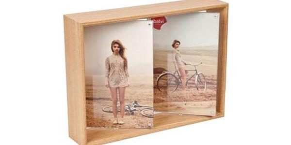 Rámeček světlý na dvě fotky otočný 2x10x15 cm