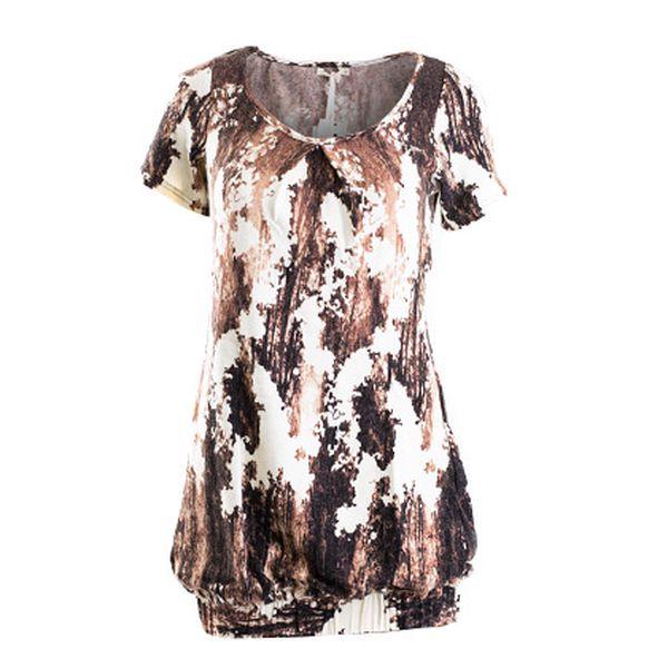 Béžovo-hnědé šaty s elastickým spodním lemem (Lavand)