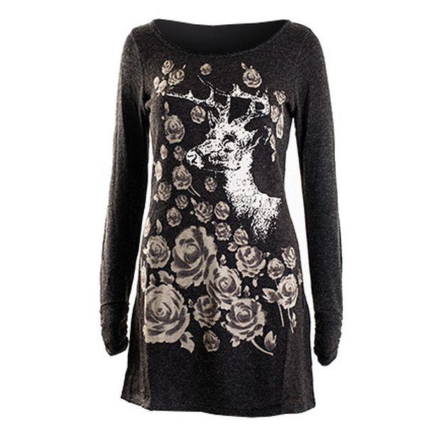 Hnědé šaty s dlouhými rukávy s jelenem a šedými růžemi (Lavand)