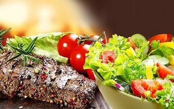 Menu pro dva za skvělých 189 kč! 2x200g vepřový steak na vícebarevném pepři včetně 2x zeleninového salátu! Skvělý gastronomický zážitek v krásném a příjemném prostředí restaurace budvarka se slevou 53%!