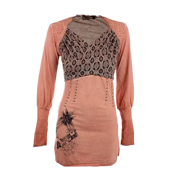 Dámské lososové šaty s potiskem na hrudi Angels Never Die