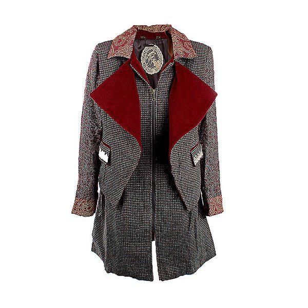 Dámský kabát s červenými klopami Angels Never Die