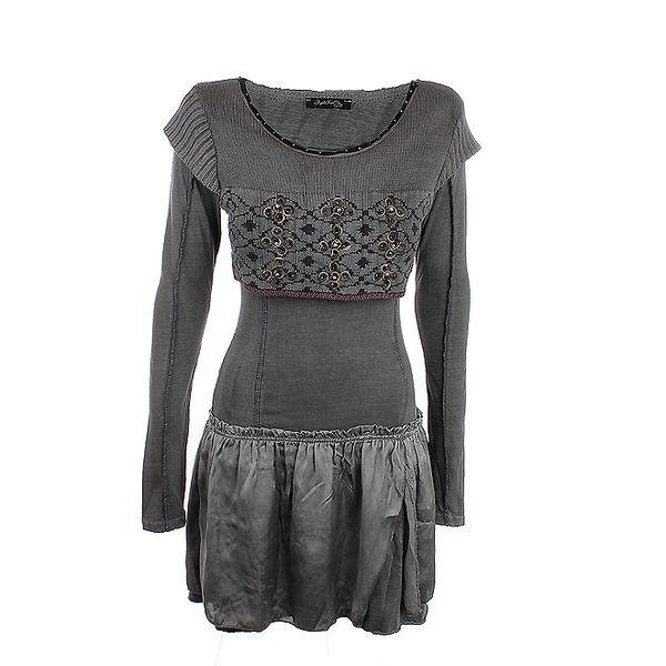 Dámské šedé šaty s kanýkrovou sukní Angels Never Die