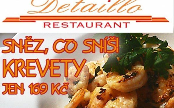 """169 Kč za KREVETY """"SNĚZ, CO SNÍŠ"""". Neomezená konzumace KREVET ve výborné restauraci Detaillo v Pitkovicích. Vítejte do krevetového nebe All you can eat!!"""