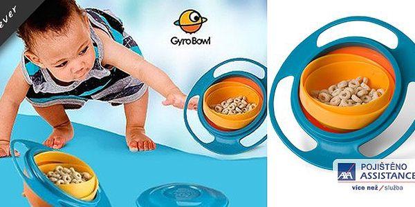 Konec sbírání jídla ze země, miska dětem přináší radost a rodičům klid i při divokém běhání jejich ratolestí. Nevyklopitelná miska Gyro Bowl