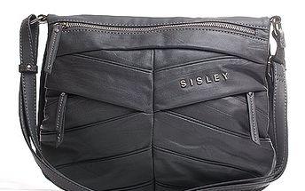 Designová Sisley kabelka šedá přes tělo