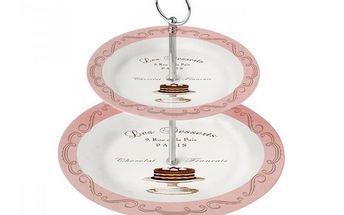 2 patrový stojan s talířky s motivem dezertů
