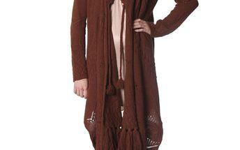 Cardigan - teplejší zavinovací svetr s efektními třásněmi